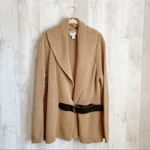 [Soft Surroundings] Camel Belted Chunky Sweater